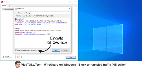 WireGuard on Windows - Block untunneled traffic - Kill Switch