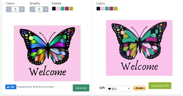 PNG and SVG Converter online with the butterfly as a demonstration
