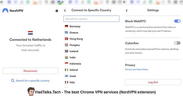 Screenshots of the NordVPN Chrome extension - Best Chrome VPN