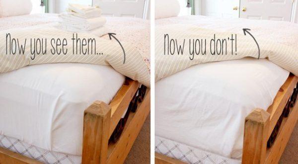 bedroom organization ideas- store sheets under mattress