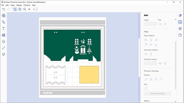 Christmas gift box pattern uploaded into Canvas Workspace ready to cut.