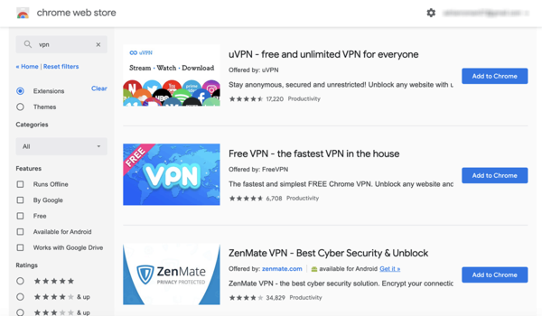 VPN for Chrome - Search the Chrome Web Store for VPN extensions