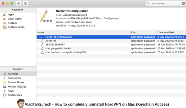 How to completely uninstall NordVPN on Mac - Keychain Access