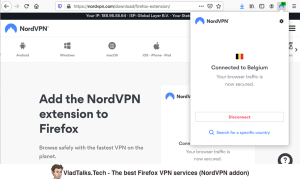 The best Firefox VPN services - NordVPN addon
