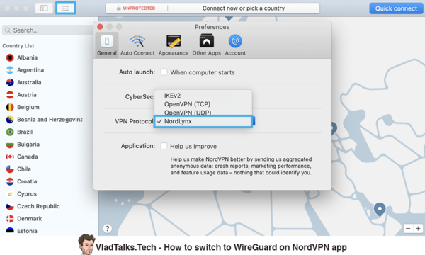 How to switch to WireGuard on NordVPN app