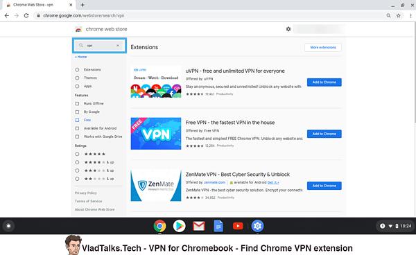 Find a Chrome VPN extension in webstore - Chromebook VPN