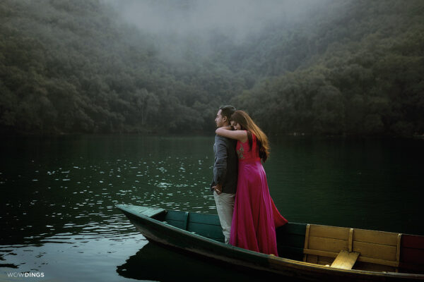 couple on a boat in the lake
