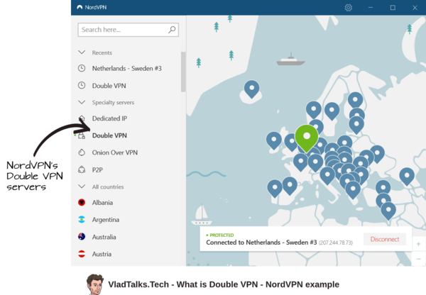 Vlad Talks Tech describes what is Double VPN and how to use these servers within NordVPN's app