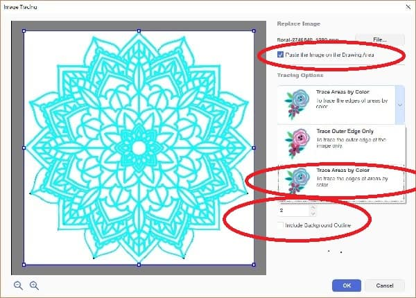 Canvas Workspace Trace Image select trace by color or outline graphic