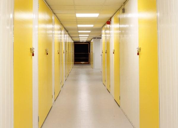 corridor of Yellow storage units