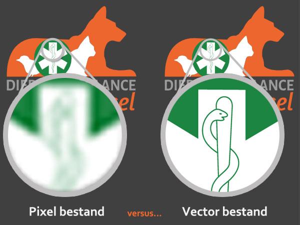 In deze afbeelding is het verschil tussen een pixel bestand en vector bestand duidelijk te zien.