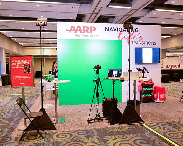 Custom Tampa green screen photo booth for AARP at an event for bloggers.