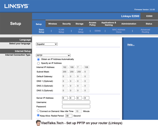 PPTP on Android - set up on router (Linksys)