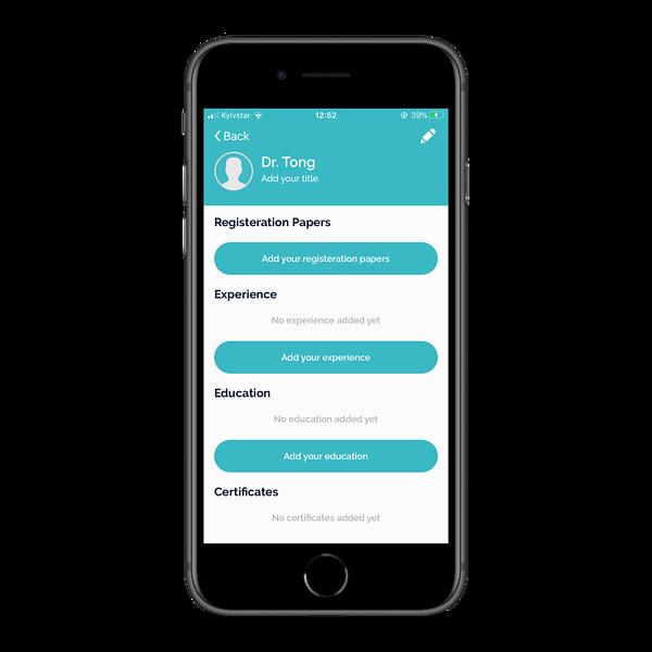 Doctor's app: medical practitioner profile