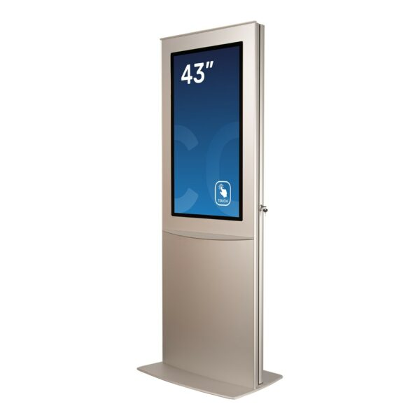 Digital signage display DURA Slim Base Model seen in a 45 degree angle by Conceptkiosk