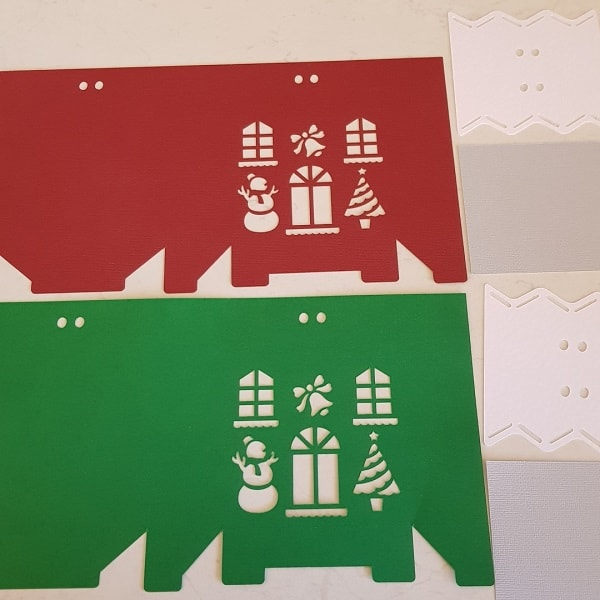 Cut out pattern pieces of the Christmas Gift Box