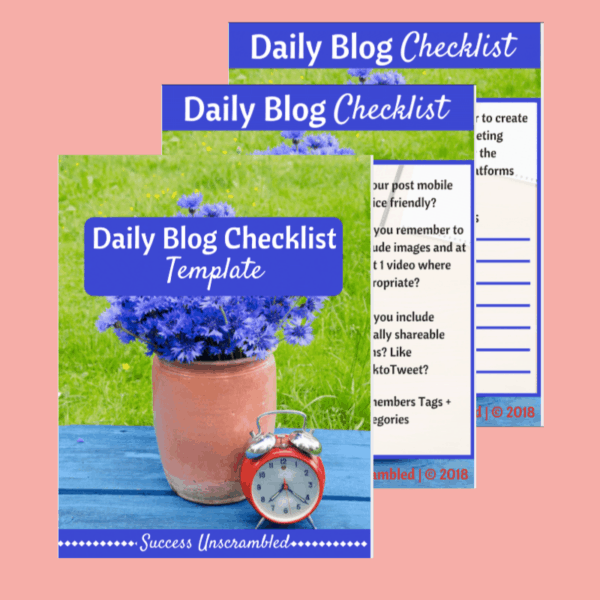 Daily Blog Checklist template - sale item - pink bg