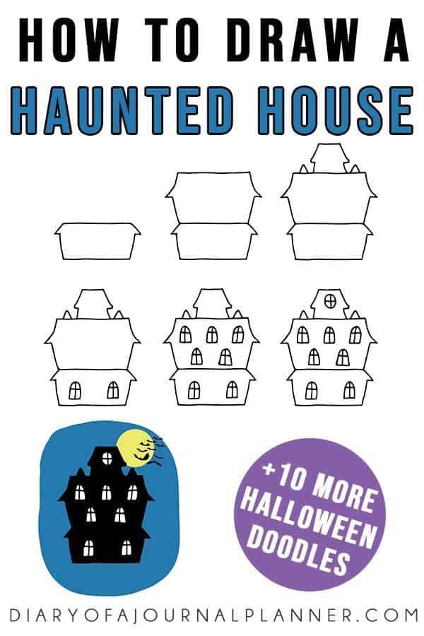 Halooween haunted house doodle