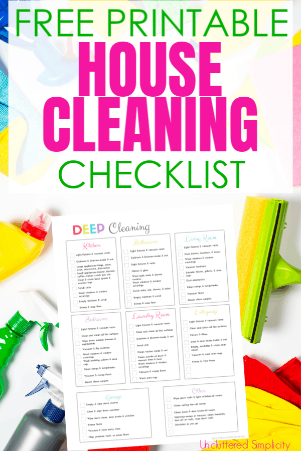 Is your home in need of a good deep cleaning? You NEED this free printable house cleaning checklist as your guide! #cleaningprintables #springclean #deepcleantips