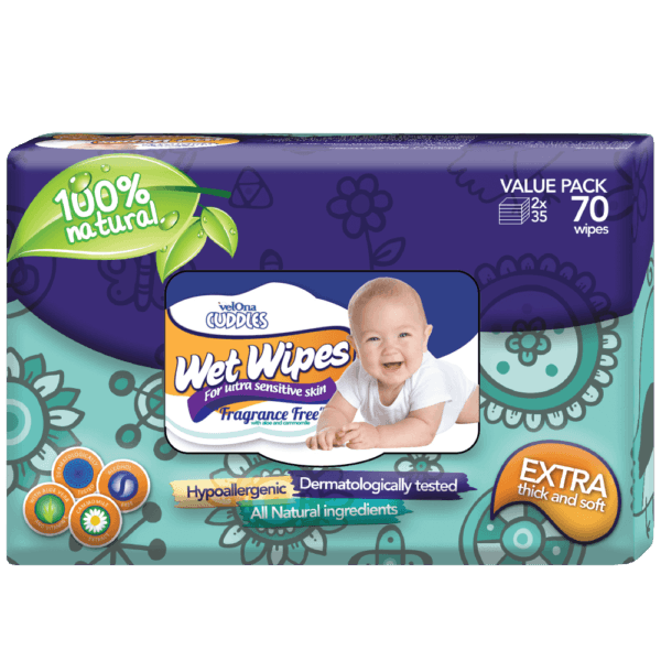 Velona Cuddles Gentle Fragrance Free Baby Wipes