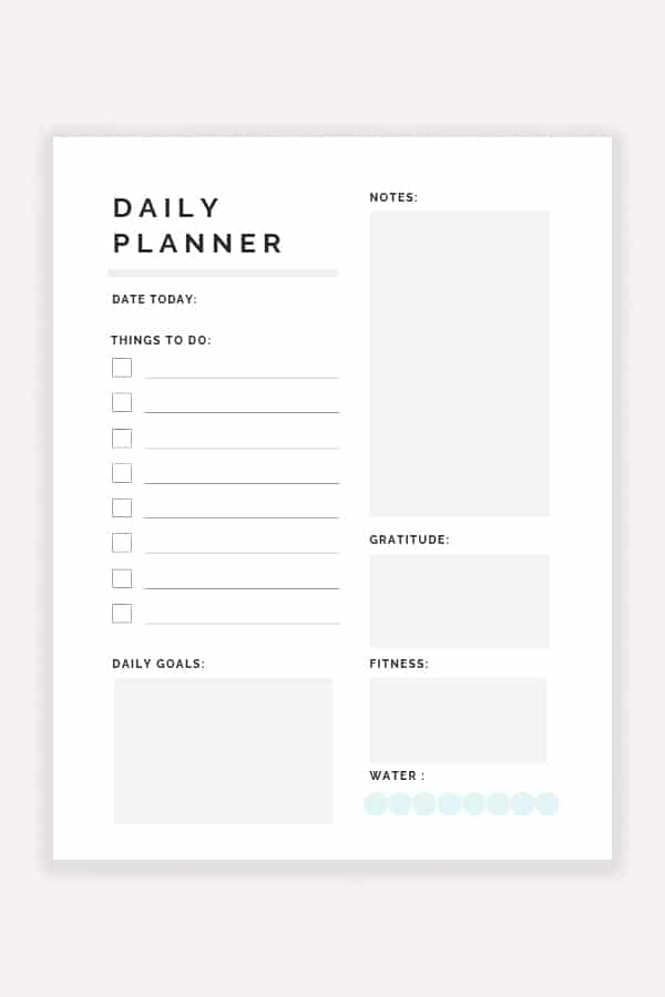 picture relating to Printable Planner identified as No cost Printable Every day Planner 2019 - Decor Trace