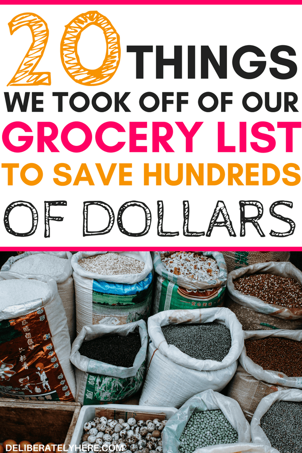 20 things to take off your grocery list to save money - stop wasting your money on these things. Cut these things off of your grocery list to start saving money!