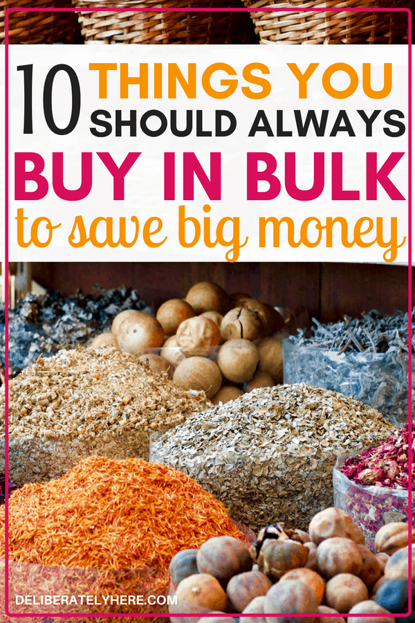 10 things you should always buy in bulk to save money. Save money on food by buying these 10 things in bulk, stop wasting your money on the little things. Awesome! I LOVE bulk shopping and now I know I'm saving money when I buy these things in bulk - but be careful, because not all bulk items are a good deal!