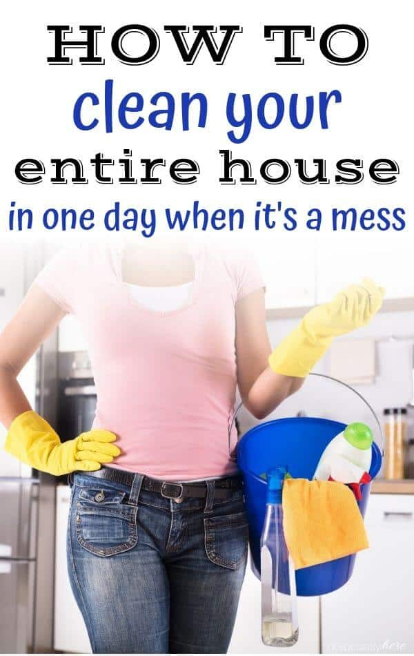 busy woman cleaning house holding bucket full of cleaning supplies