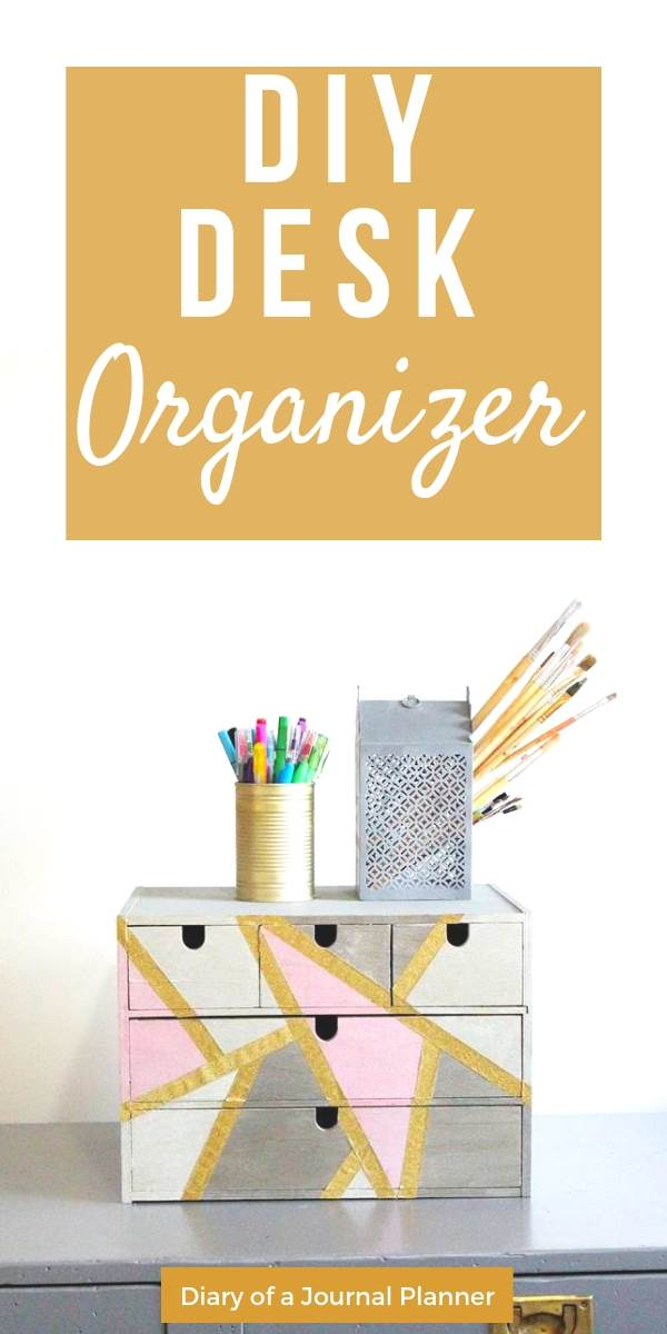 DIY desk organizer makeover idea to repurpose an old wooden box or organizer for your office supplies.