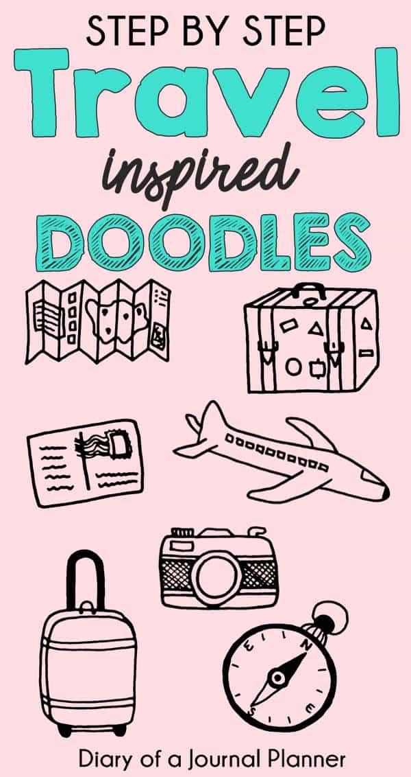 travel bullet journal doodles