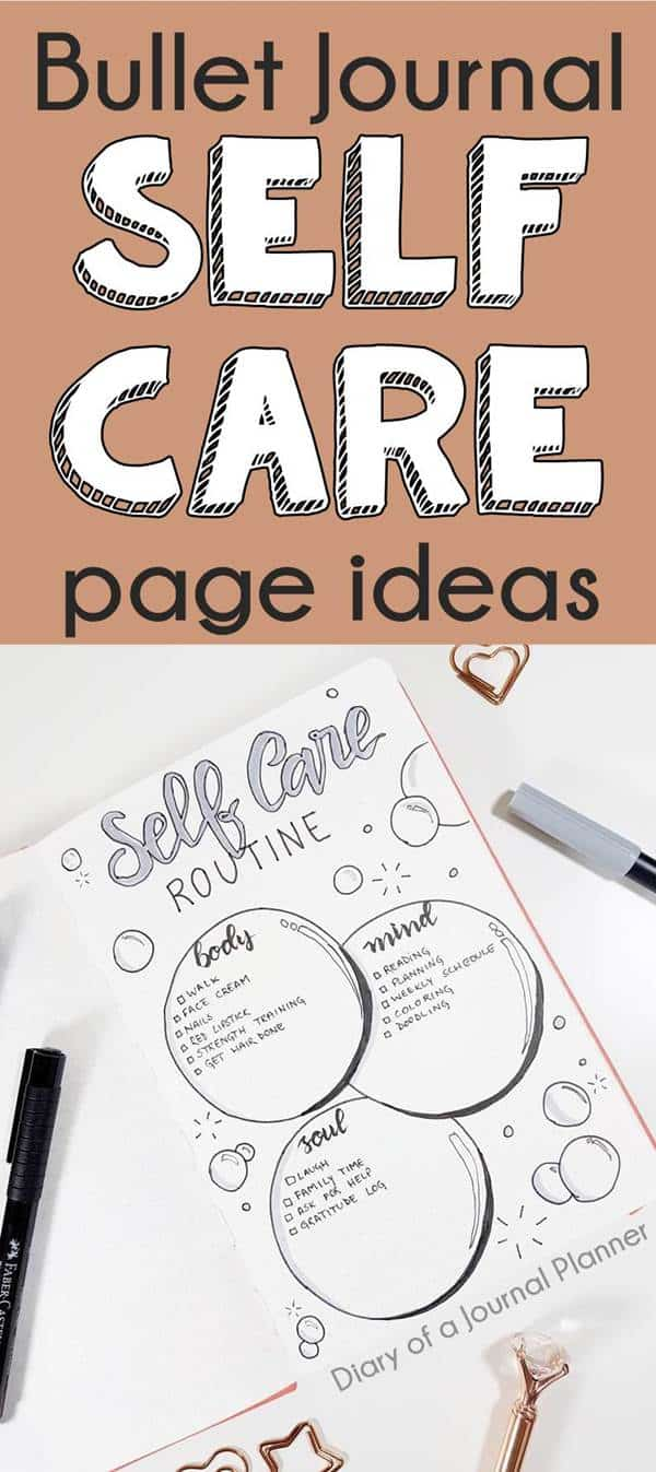 bullet journal self care layout