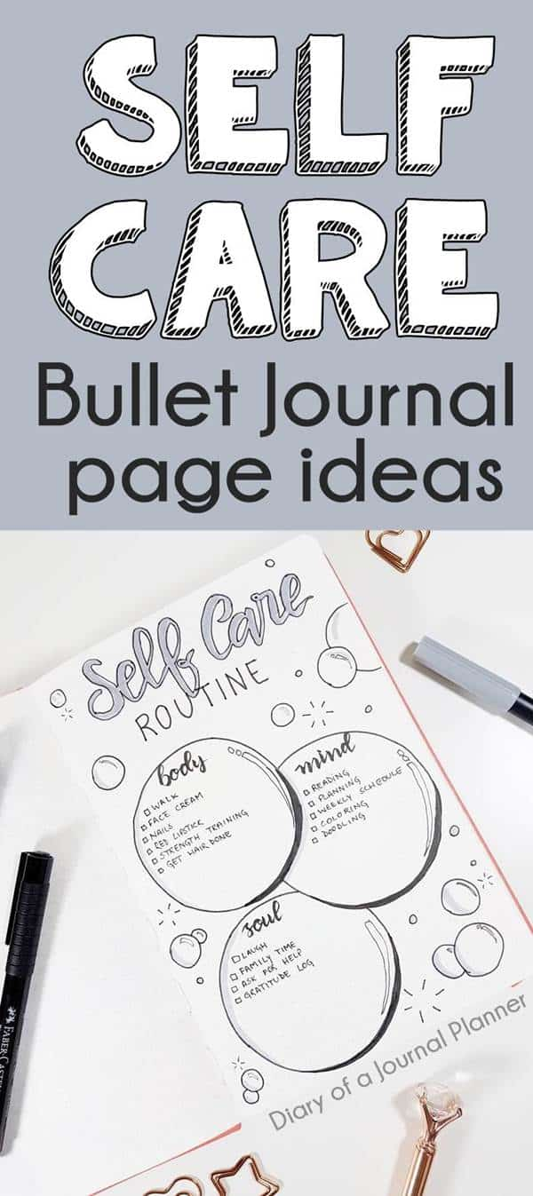 bullet journal self care tracker