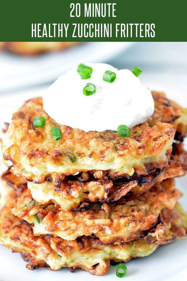 Quick and Easy Zucchini Fritters Recipe! This healthy recipe is loaded with onion, garlic and topped with sour cream! Perfect appetizer or side dish for your holiday menu or anything. #zucchinirecipes #healthyrecipes #weightwatchersrecipes #vegetariandish