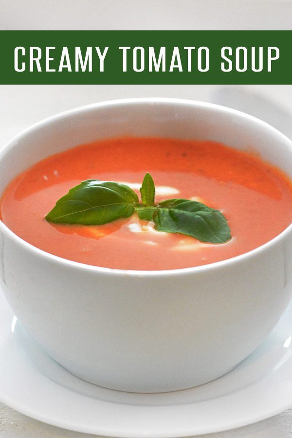 10-Minute Creamy Tomato Soup Recipe loaded with juicy tomatoes, basil and cream. Easy to adapt to a vegetarian recipe or dairy free recipe! Perfect warm weather pick me up.