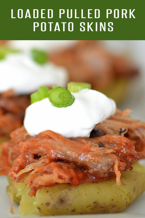 Easy Loaded Pulled Pork Potato Skins Recipe using our famous Carnitas Recipe! Perfect game day appetizer! See more at FoodieandWine.com