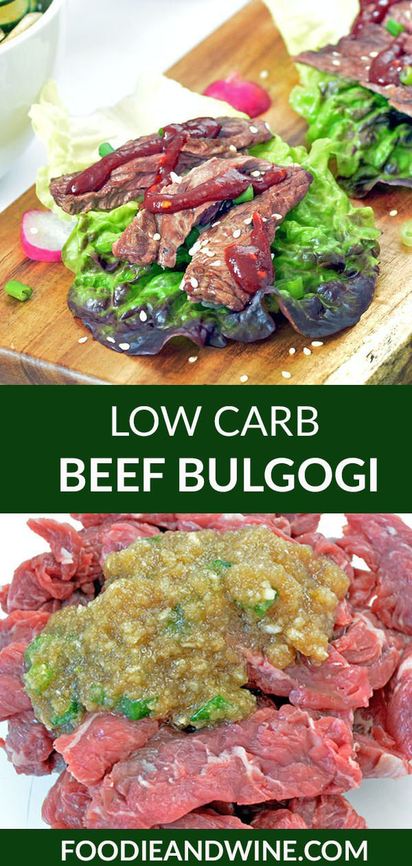 Pinterest image of raw beef bulgogi and cooked beef bulgogi in a lettuce cup.