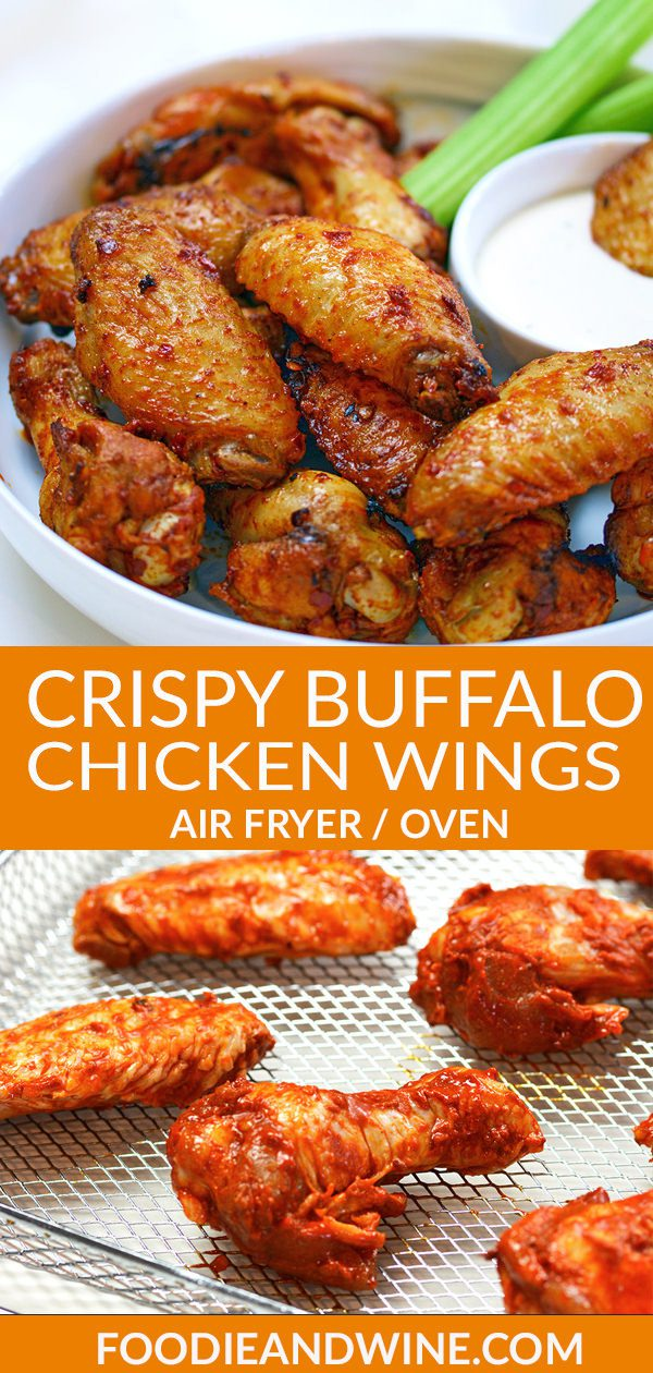 Pinterest pin of cooked buffalo chicken wings and raw chicken wings