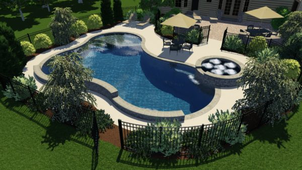 Freeform Pool Model with Raised Wall and Spa