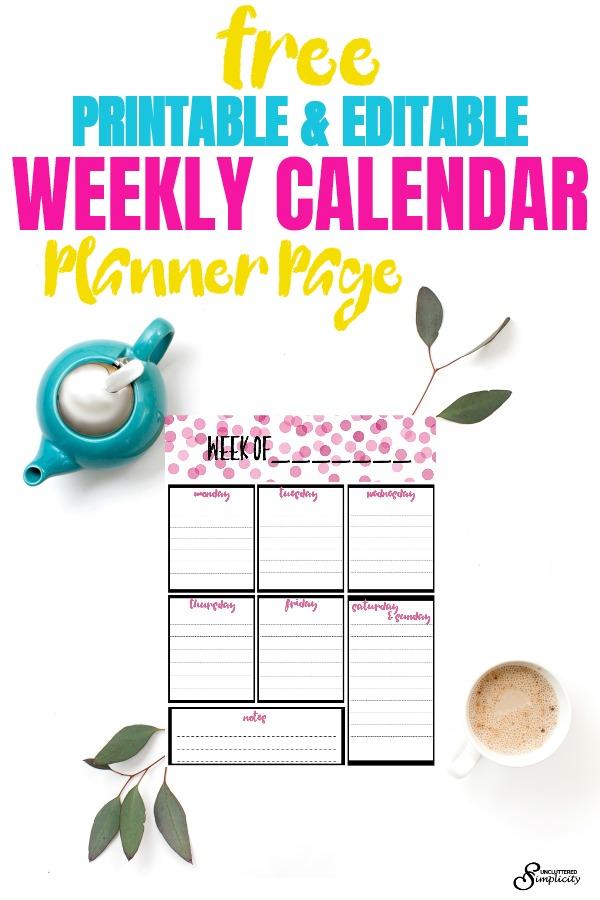 Free Weekly Calendar Planner Printable: Full and Half Size #freeprintables #2018planner #plannerprintable