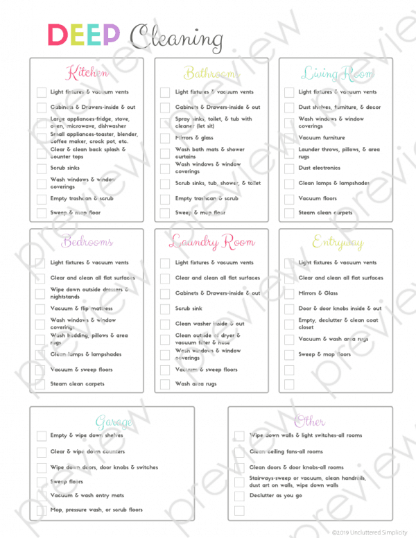 free printable house cleaning checklist #springcleanchecklist #deepclean #housecleaningtips