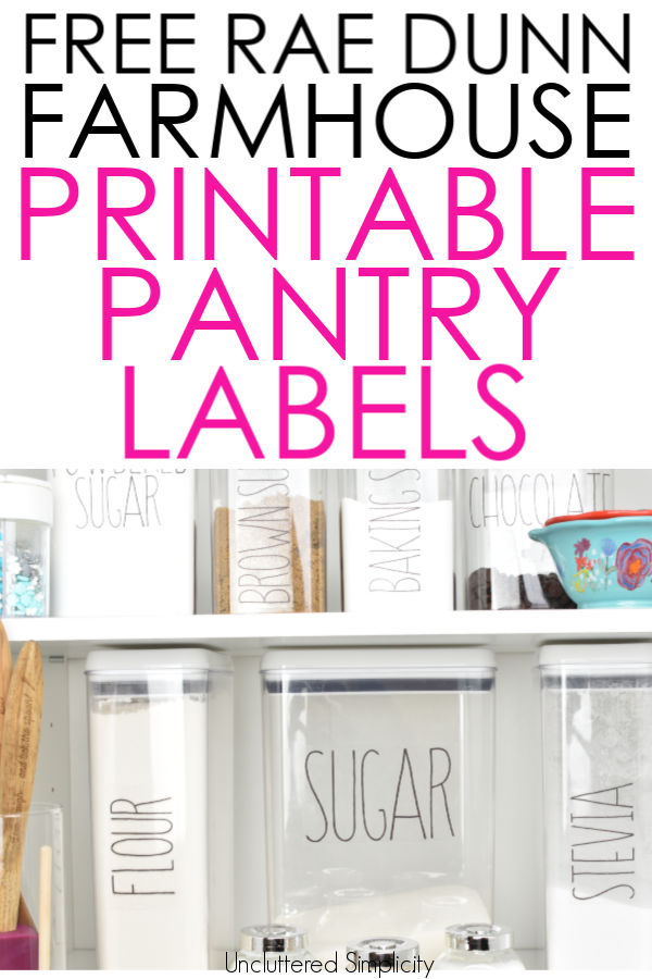 Free Printable Pantry Labels  Farmhouse Rae Dunn Inspired