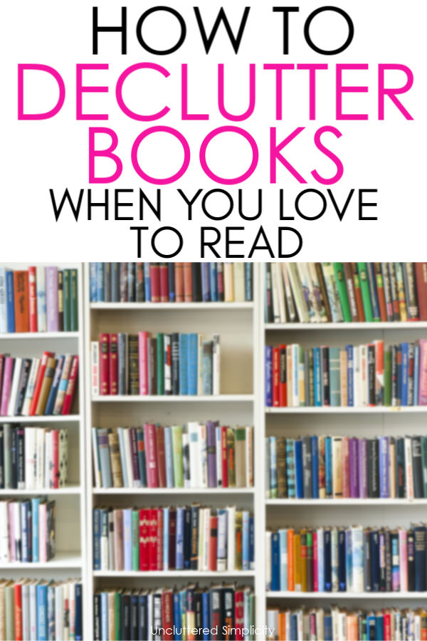 shelf of books-how to declutter books
