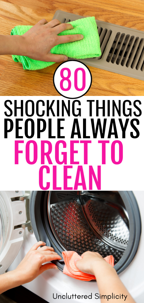 The ultimate massive guide to things you always forget to clean. With free printable cleaning checklist.
