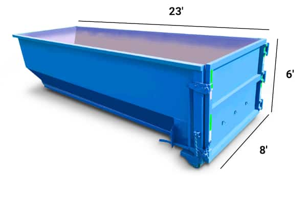 30 yard roll-off dumpster with dimensions