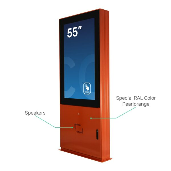 Outdoor digital signage DURA Outdoor with pearl orange painting and speakers
