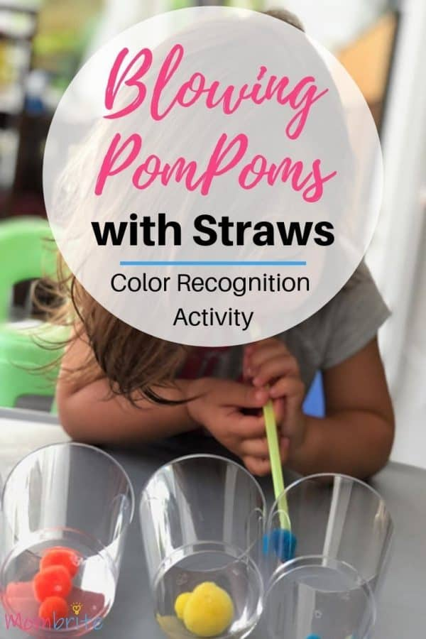This pom pom blowing activity is great for helping toddlers recognize their colors and practice oral motor skills. Super fun indoor activity that will educate as well as entertain your toddler! #indoorplay #toddleractivities #finemotorskills #toddlerplay