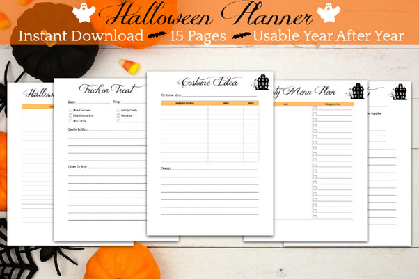 Halloween side border with black, orange and white decor and candy over a white wood background. Top view with copy space, with Halloween planner preview