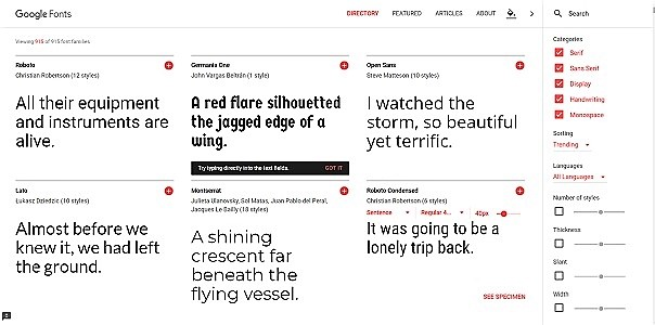 Picture of googlefonts website where you can access free fonts