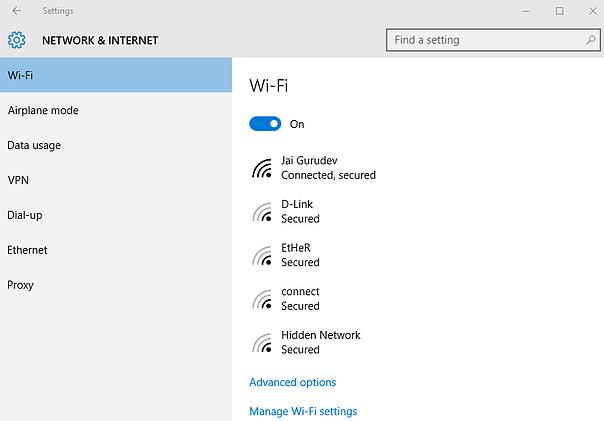 wifi network screen
