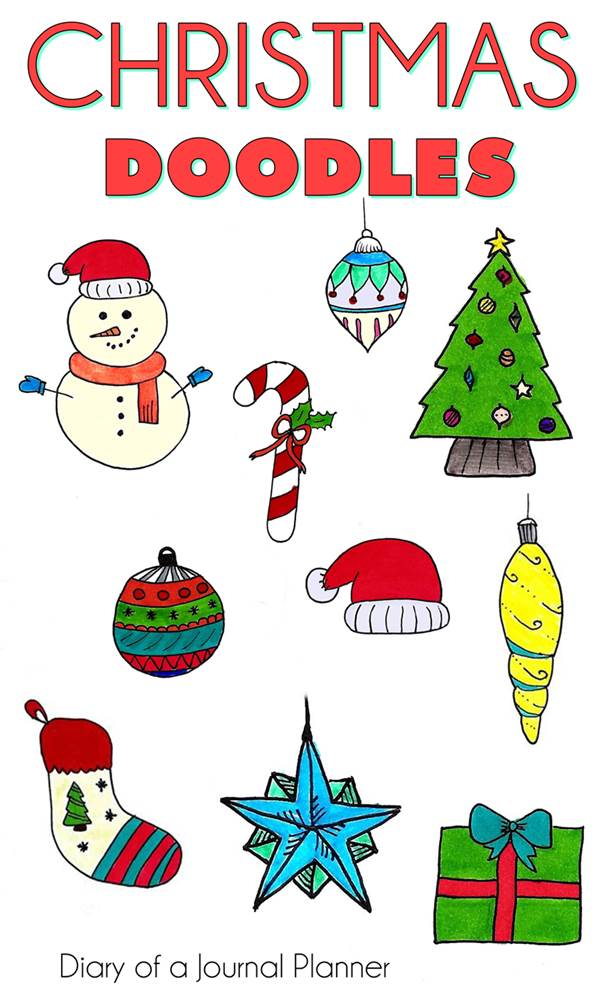 Christmas Doodles - try out these cute christmas doodles for bullet journal with easy step by step tutorial